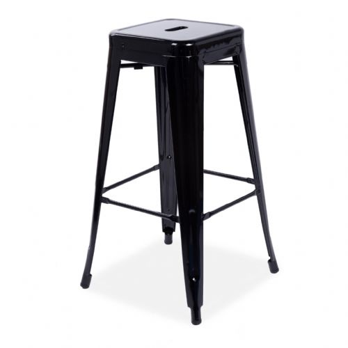 4x Tolix Metal Barstool Stackable Dining Barstool, Bright Black